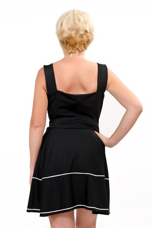 Черна къса разкроена рокля - Елизабет