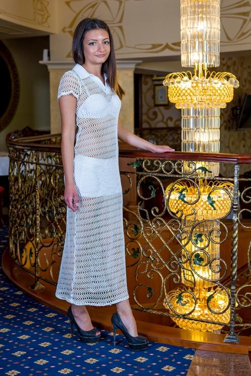 Дълга бяла рокля с къса пола - Симона 1