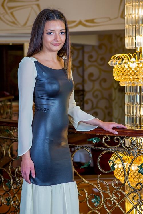 Официална дълга рокля от шифон и кожа - Ками