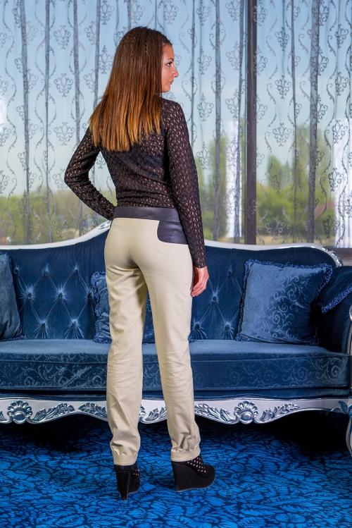 Дамски дълъг панталон с кожени детайли