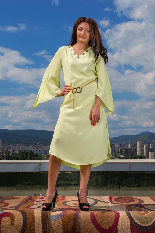 Асиметрична рокля с цепки и колан - Сали