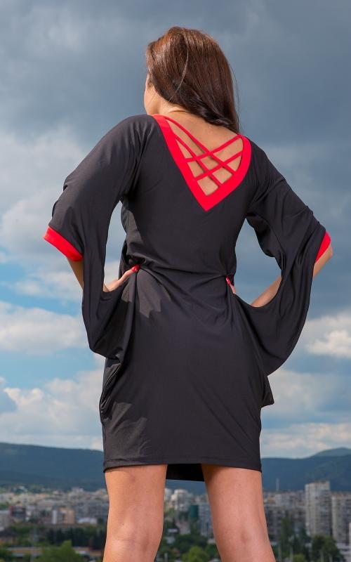 Къса екстравагантна черна рокля - Доби