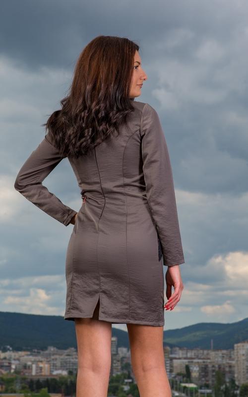 Къса елегантна рокля с дантела - Габи