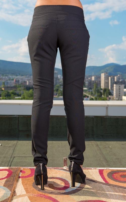 Дамски дълъг черен панталон с пандела