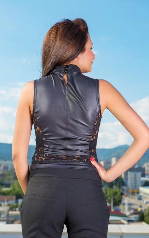 Дамска черна блуза от кожа и дантела