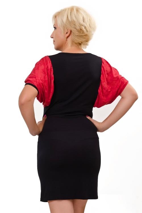 Къса черна рокля с дантелени ръкави - Каприз