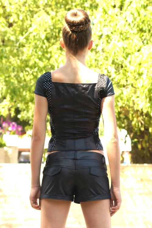 Черна дамска блуза корсет от памук и кожа
