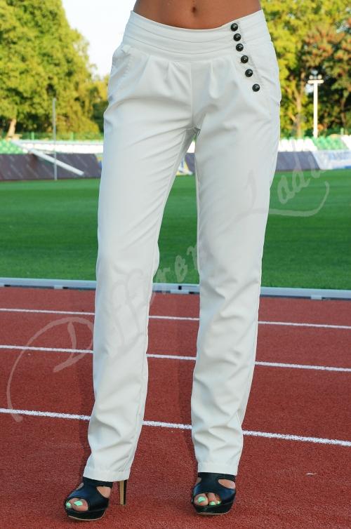 Дамски дълъг панталон с асиметрично закопчаване