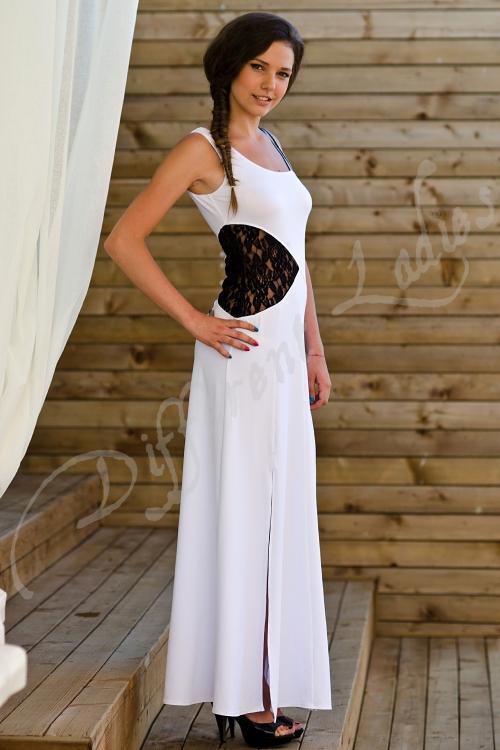 Дълга бяла рокля с дантела - Алекса