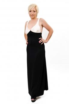 Дълга рокля в два цвята и гол гръб - Дафни