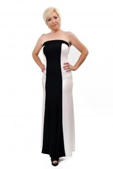 Дълга черно - бяла боди рокля - Фани