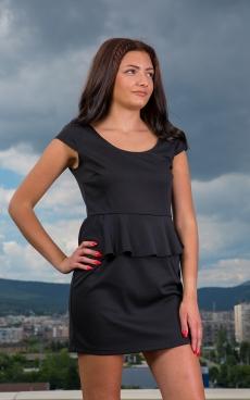 Черна къса рокля с пеплум - Паула