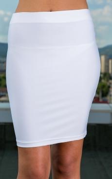 Дамска къса права бяла пола