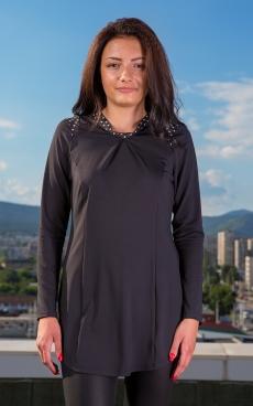 Дамска черна асиметрична туника с дълъг ръкав