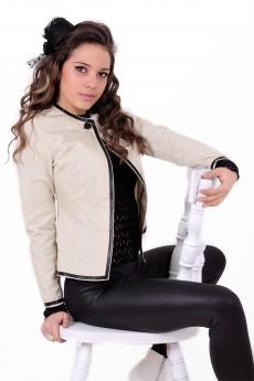 Дамско сако с кожен кант