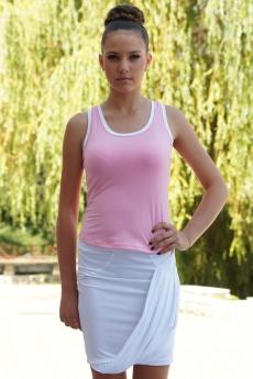 Дамски комплект от спортна пола и топ в розово