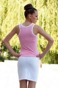 Бяла къса спортно елегантна пола с платка