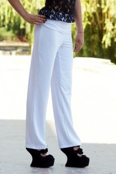 Елегантен дълъг дамски бял панталон