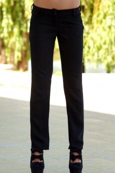 Дамски комплект от сатенена блуза и черен панталон