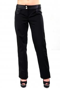 Дамски дълъг черен панталон с ципове