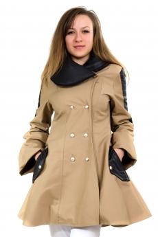 Екстравагантно дамско палто с кожа