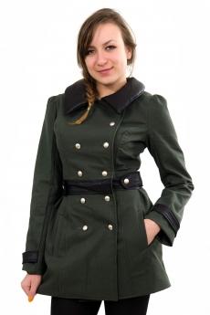 Дамско палто в тъмно зелено с кожа