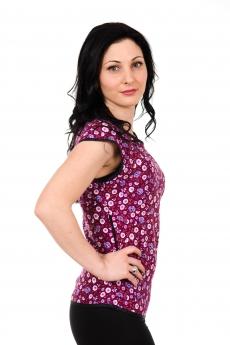 Дамска блуза с паднали рамена в лилав нюанс