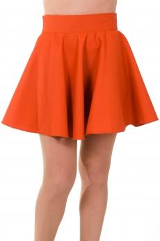 Къса пола клош в оранжево