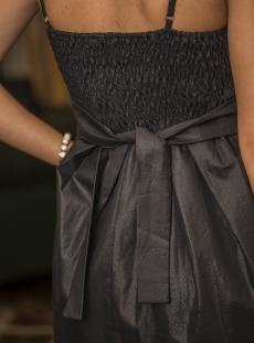 Къса черна рокля с колан - Luxury