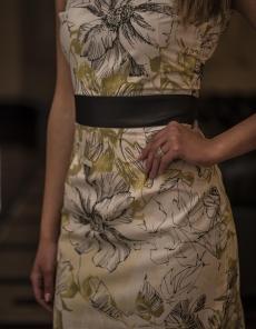 Къса рокля от памук с кожени ръкави - Рени