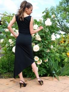 Дълга черна рокля с колан Сами