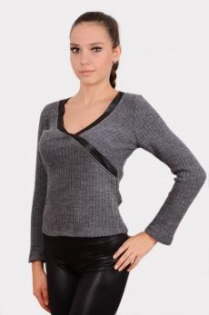 Дамска блуза от плетен памук и кожа