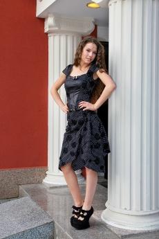 Дамски комплект от асиметрична пола и блуза - корсет